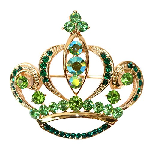 Navachi 18k Gold Plated Green Crystal Royal Crown Az7321b Brooch - 18k Brooch Emerald