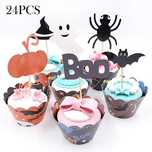 (Halloween Cake Picks Cupcake Toppers Wrappers Cupcake Liners 24 Pieces Pumpkin Boo Elf/Ghost Spider Witch's Hat and Bat for Halloween Party Cake Dessert)