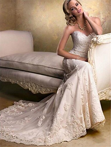 LUCKY-U Wedding Dress Bridal Gown Mermaid Long Beach Elegant Night Wedding Banquet Long Dress Lace Cotton: Amazon.co.uk: Sports & Outdoors