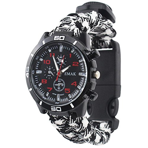 Outdoor Survival Watch Braided Strap Bracelet Paracord Multifunction Compass Flint Fire Starter Whistle (White)