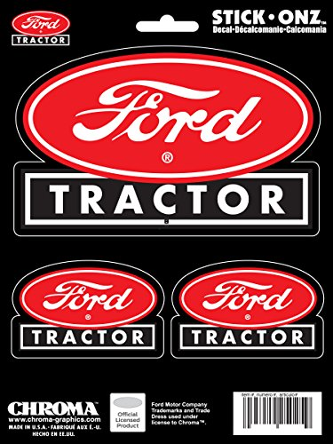 Chroma Graphics 25025 Ford Tractor Red Oval 3pc Stick Onz Decal