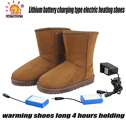 Lithium Battery Charging Warmer Heated Feet Warmer Shoe 4 Hours Holding 27cm (rown) Woman