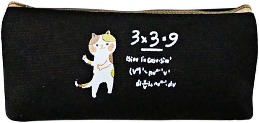 Kentop Lienzo dibujos animados Gato estuche Papel de carta Bolsa Estuche escolar estuche cosmética Bolsa, lona, Negro, 21*9CM: Amazon.es: Hogar