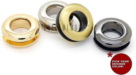 17mm CRAFTMEmore Metal Push Snap Together Grommet Flat Surface Snap Rings Eyelet O-Rings Purse Loop Easy Installation Pack of 4 Complete Rings , Gunmetal Black 11//16