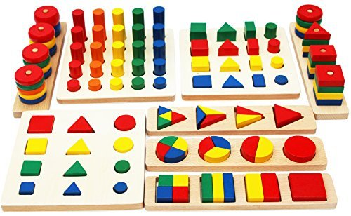 Wooden Geometric Shapes and Fractions Boards - Wooden Shape sorter Toy and Wooden Stacking Game 8 Sets in One - Educational Toys Suitable for Montessori Learning