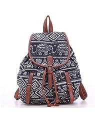 WINOMO Elephant Rucksack Laptop Daypack Drawstring Canvas Backpack (Black)