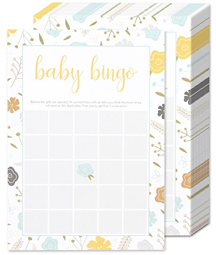 Baby Shower Bingo Party Game Kit for a Girl or Boy - Gender Neutral Baby Shower Games - 50 Game Sheets and Activities for Guests - 5 x 7 Inches ()