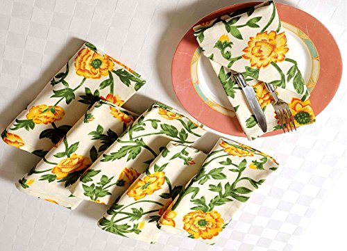 Premium Cotton Indian Cloth Napkins Set Of 6 Size 16 X 16 Inches Colored Full Yellow Personalized Kitchen Dinner Table Wedding Party Décor Home Dinning - Personalized Lap Desk