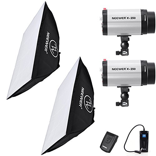 Neewer 500W(250W x 2) 5600K Photography Studio Flash Strobe Light Lighting Kit with (2)20x28''/50x70cm softbox &(1)RT-16 Trigger for Video Shooting,Location and Portrait Photography by Neewer