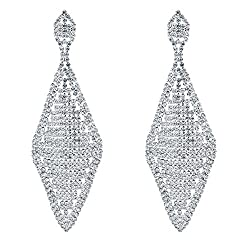 Style C-Silver Plated Crystal Rhinestone Chandelier Dangle Earring