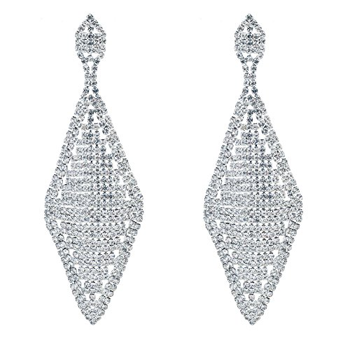 CHRAN Rhombus Shape Silver Rhinestone Wedding Drop Chandelier Dangle Long Earrings for ()