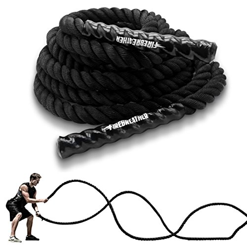 BATTLE ROPES with ANCHOR KIT by FireBreather Coaching. Best Workout Equipment for Total Body Exercise to improve Cardio, Strength & Energy. Premium 1.5 Inch Poly Dacron Battling Rope in 30, 40 & 50 Ft – DiZiSports Store