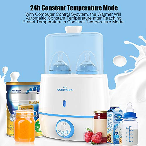 51D8b9IfhQL - Baby Bottle Warmer & Bottle Sterilizer, Eccomum 6-in-1 Double Bottle Warmer For Breast Milk, Baby Food Heater With LCD Display Accurate Temperature Control, Constant Mode, Fit All Baby Bottles