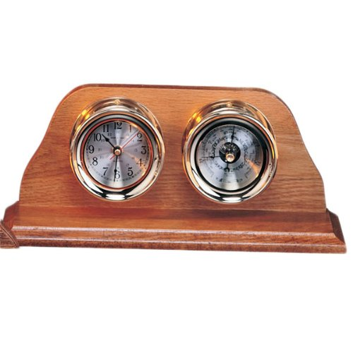 7.5'' Clock & Barometer with Lacquer Coating on Base Nautical Tropical Home Decor by Nautical Tropical Imports
