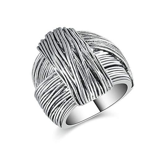 (Designer Inspired Titanium Steel Folded Ribbon Vintage Statement Ring (7))