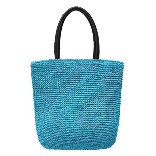Crochet Tote Bag by Bambou, Fashion Purse Women, Beach Bag, Ladies Shopping Bag, 100% Recycled Material (Azure) by Bambou