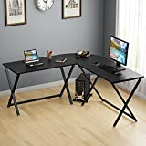 "L- Shaped Desk, LITTLE TREE Extra Large 67"" x 67"" Corner Computer Office Desk with Fixed X-Type Frame for Home Office, CUP Stand Included (Black)"