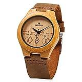 REDEAR Women's Bamboo Wooden Quartz Watch Unique Pattern Leather Band Water Resistance Wristwatch (Brown)