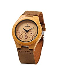 REDEAR Women's Bamboo Wooden Quartz Watch Unique Pattern Leather Band Water Resistance Wristwatch (Brown)