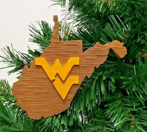 WEST Virginia Mountaineers State MAP Ornament 4