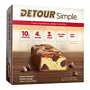 Detour Simple Whey Protein Bar, Salted Caramel Cookie Dough, 1.1 Ounce, 9 Count