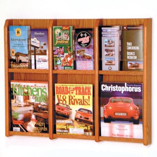 DMD Magazine Rack, Holds 6 Magazines or Books / 12 Brochures, Wall Mount Display, Medium Oak Wood Finish