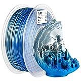 AMOLEN PLA 3D Printer Filament, Silk PLA Filament 1.75mm, Silk Silver Filament, Shiny Blue Filament, 3D Printing Filament +/- 0.03mm,1kg/2.2lbs