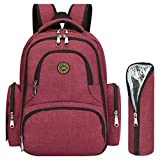 S-ZONE Upgraded Version Water-resistant Baby Diaper Bag Smart Organizer Backpack with Changing Pad & Stroller Clips 7 Varieties Available (Wine Red with Insulated Sleeve)