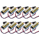 TOPCHANCES 10 Pack 2/3A 3.6V 1700mAh Replacement PLC Industrial Lithium Battery Servo A6BAT ER17330V Battery for Mitsubishi w/ US Plug