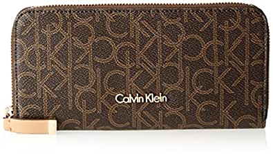 Calvin Klein women Hudson Monogram Zip-Round Monogram Wallet, Brown/Khaki/Camel, One Size