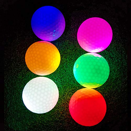 LED Glow Golf Balls, Personalized Practice Light up Golf Ball Glow in Dark for Women Men, Colored Novelty Funny Night Golf Balls Bulk (Pack of 6) by ZLIXING (Image #2)