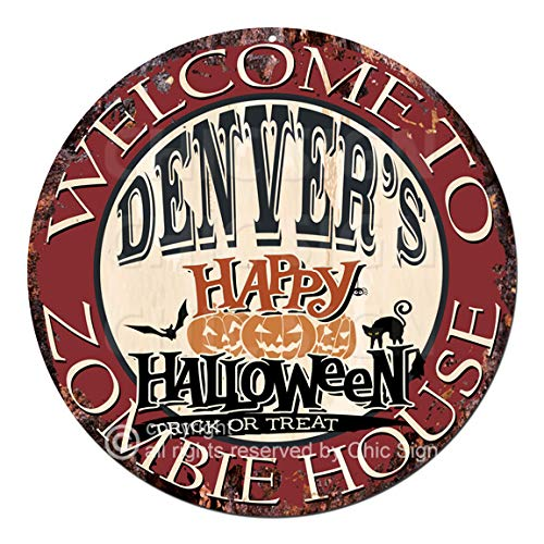 Welcome to The Denver'S Happy Halloween Zombie House Chic Tin Sign Rustic Shabby Vintage Style Retro Kitchen Bar Pub Coffee Shop Man cave Decor Gift Ideas]()