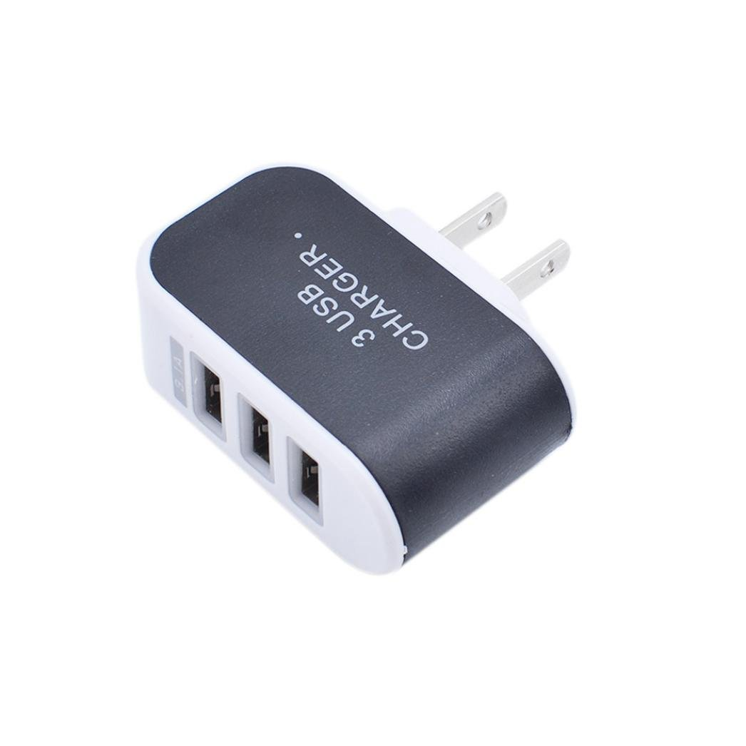 Sonmer Practical Triple USB Port Charger Adapter For Home Travel (Black)