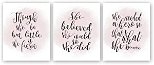 "HPNIUB Inspirational Quotes Art Print Watercolor Words Sayings Poster Set of 3 (10 ""X 8 "" Motivational Phrases Canvas Wall Art for Girls Women Bedroom Home Decor, No Frame"