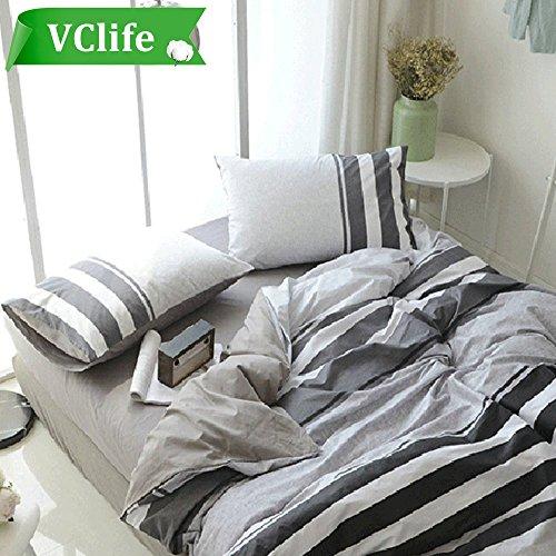 d Print Bedding Duvet Cover Sets 100% Cotton Geometric Reversible Grey Bedding Sets Kids Boys Quilts Cover Sets 3 PCS Home Textile (Striped, Twin) (Boy Bedding)