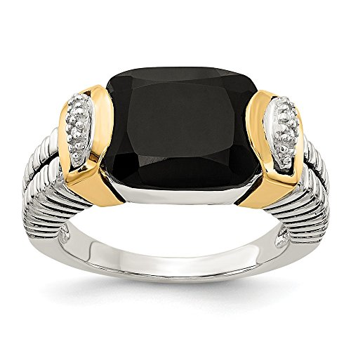 (14K White Gold Ring Stone Ring Solid Antiqued 14K Gold Yellow Black Onyx Diamond Ring)