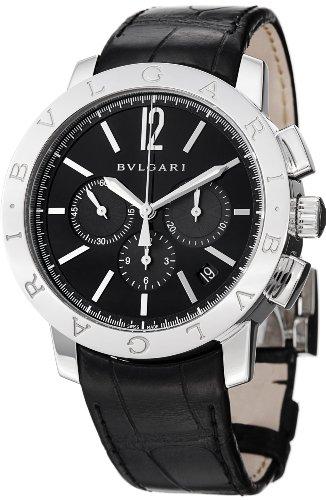 - Bvlgari Bvlgari Chronographe Men's Automatic Black Leather Strap Watch BB41BSLDCH