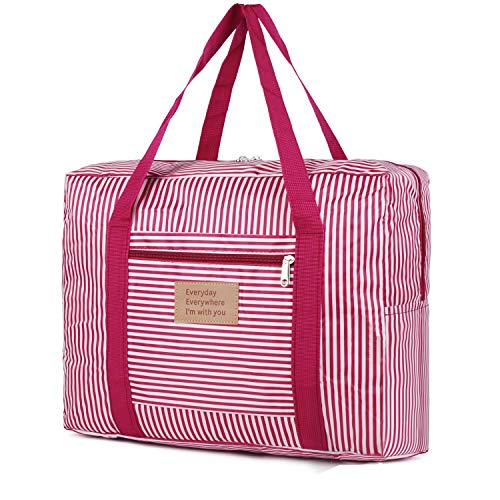 For Spirit Airlines Foldable Travel Duffel Bag Tote Carry on Luggage Weekender for Women and Girls (Red Stripe)