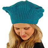 Girls Cute Warm Animal Cat Ears Ribbed Knit Beret Beanie Hat Cap