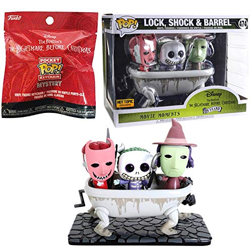 Funko Movie Moments Nightmare Before Christmas Exclusive Pop! Lock, Shock & Barrel Character Pack Bundled with + Nightmare Before Christmas Mini Pocket Pop Figure Blind Bag Keychain Hanger 2 Items ()
