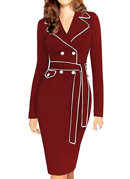 Cruiize Womens Long Sleeve Belt Contrast Color Workwear Cocktail