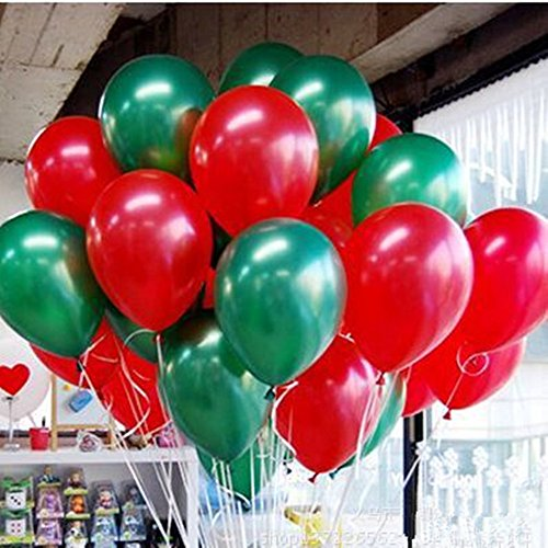 [Merry Christmas Latex Balloons 10 Inch 0.063Ounce Thickening Pearl Balloons for Wedding Birthday Party Festival Christmas Decorations Red and Green] (Bollywood Party Decorations)