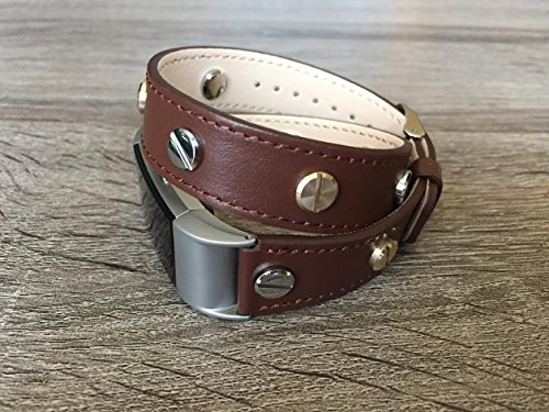 Designer Brown Double Wrapped Eco Friendly Leather Bracelet For Fitbit Charge 2 With Multiple Two Toned Silver & Gold Rivets Handmade Replacement By -