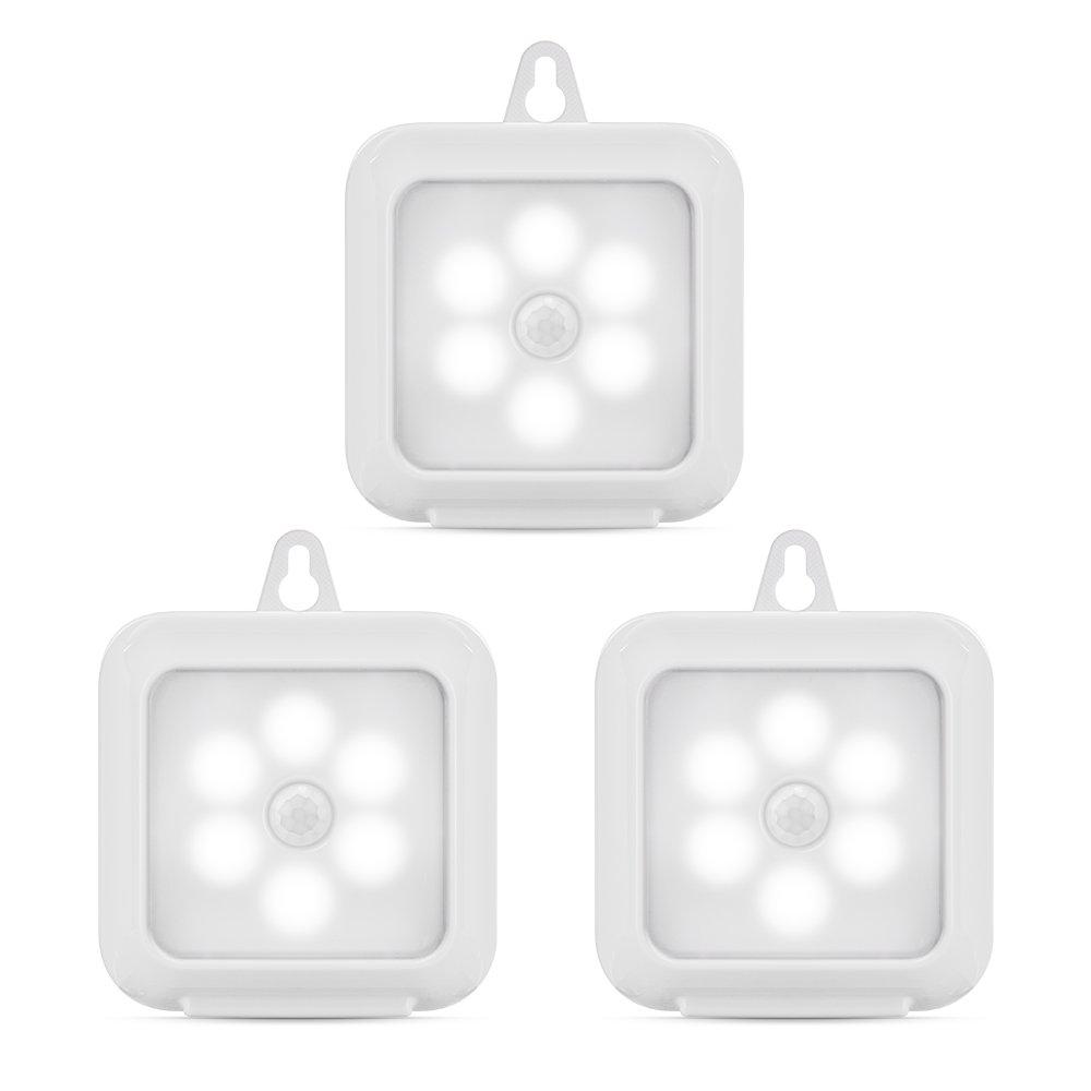 3個正方形ホワイトモーションセンサーライト夜間ライト室内と室外with 3 M粘着パッド B0783MHZ2H