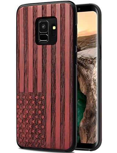 Galaxy S9 Case Wood, Samsung S9 Phone Case, Cool Natural Wooden Engraving Flag & Hard PC Anti-Scratch Drop Proof Hybrid Ultra Thin Slim Full-Body Protective Bumper Case for Samsung Galaxy (Flag Phone)