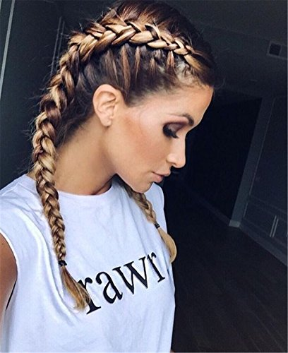 Cool2day Long Braids High Temperature Fiber Dark Roots Ombre Blonde Synthetic Braided Lace Front Wig With Baby Hair Wigs