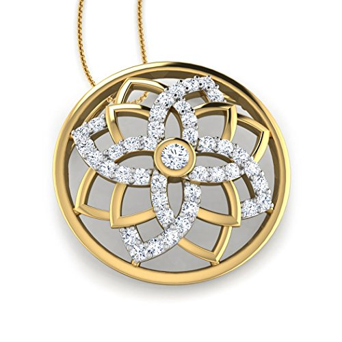 18 K Or Blanc 0,16 CT TW Round-cut-diamond (IJ | SI) Pendentif
