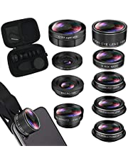 iPhone Lens Kit, Phone Camera Lens 9 in 1 Zoom Telephoto Lens+198° Fisheye +0.35X Super Wide-Angle + 20X Macro Lens + 0.63X Wide Lens + CPL +Kaleidoscope Lens +Starburst for Samsung Android Smartphone