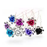 Cuhair 10pcs Women Lady Bridal Wedding Party Crystal Flower Rose Hair Pin Clip Barrettes Sticks Accessories (multicolor-1)