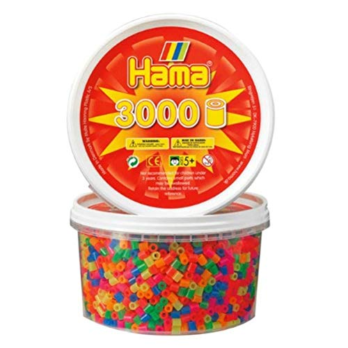 Hama Beads - Neon Mix 3000 Tub (Midi Beads) (Hama Beads Designs)